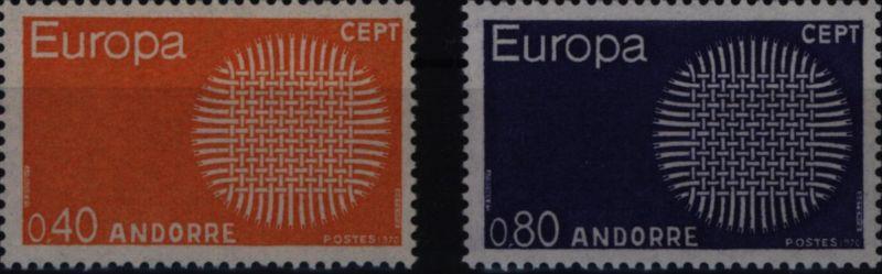 Andorra (Französische Post) 222-223 Europa CEPT 1970 komplett postfrisch ** MNH