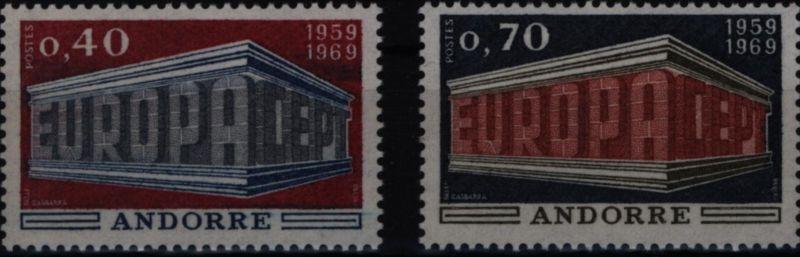 Andorra (Französische Post) 214-215 Europa CEPT 1969 komplett postfrisch ** MNH