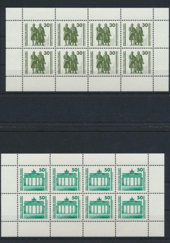 DDR Zusammendrucke Heftchenblatt HB 20+21 Bauwerke + Denkmäler Luxus postfrisch