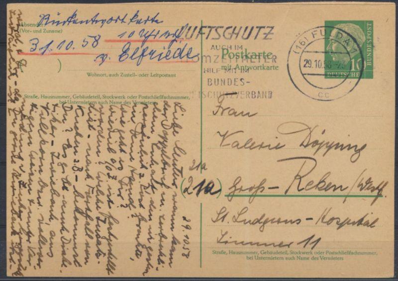 Bund Ganzsache P 33 F Heuss Frageteil Fulda nach Groß Reken 29.10.1958