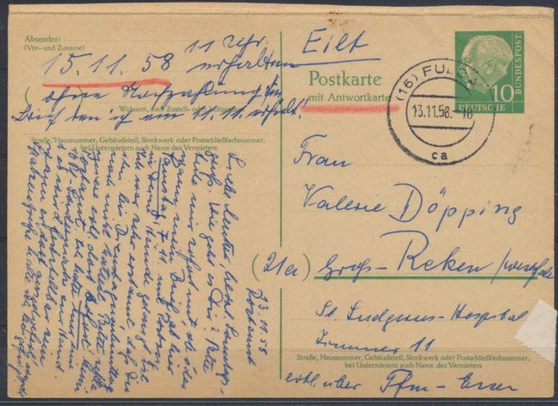 Bund Ganzsache P 33 F Heuss Frageteil Fulda nach Groß Reken 13.11.1958