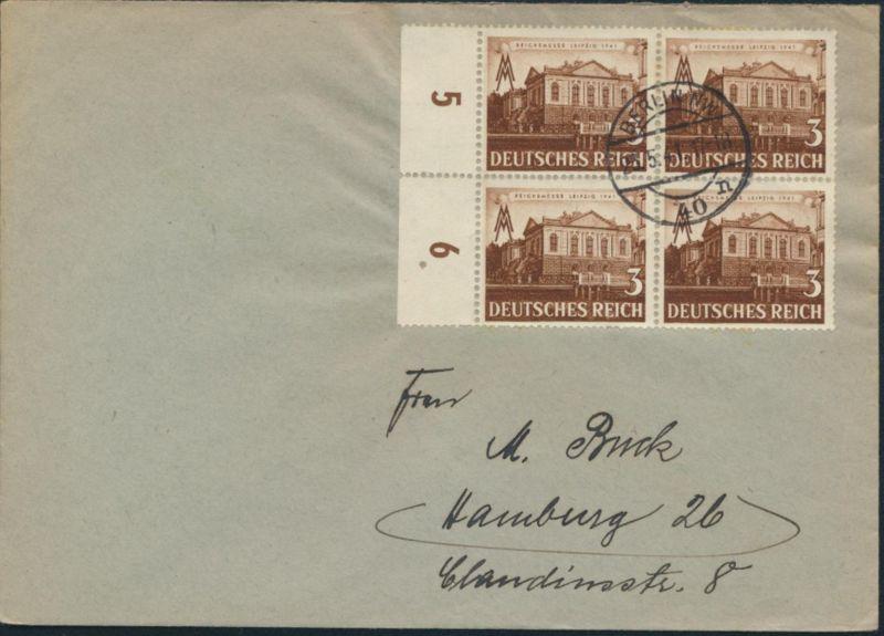 Deutsches Reich Brief 764 Viererblock Seitenrand Berlin nach Hamburg 23.5.1941
