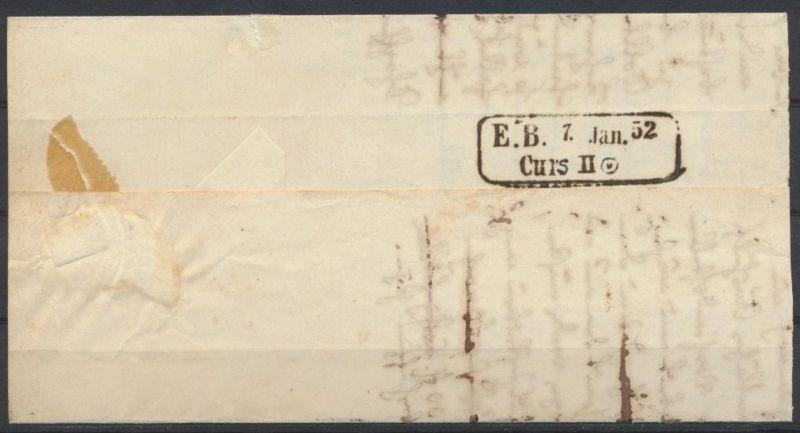 Baden Markenloser Brief Bahnpost Curs Stempel auf ab Carsruhe mit Sonnenscheibe
