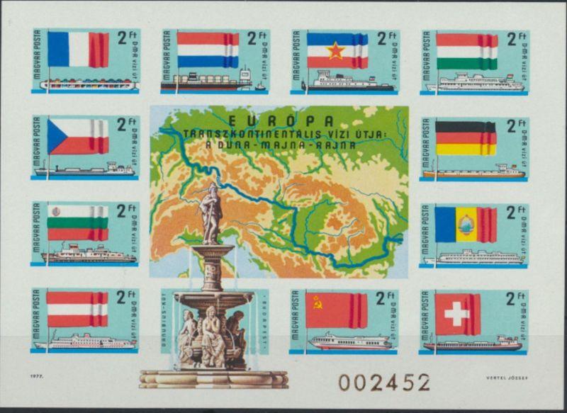 Ungarn Block 128 B** - Europäische Donaukommission Schiffe Flaggen