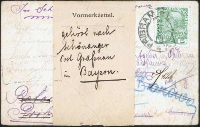 Tschechien Bayern Postsache Ansichtskarte Böhmen Pribram Borowa Vormerkzettel