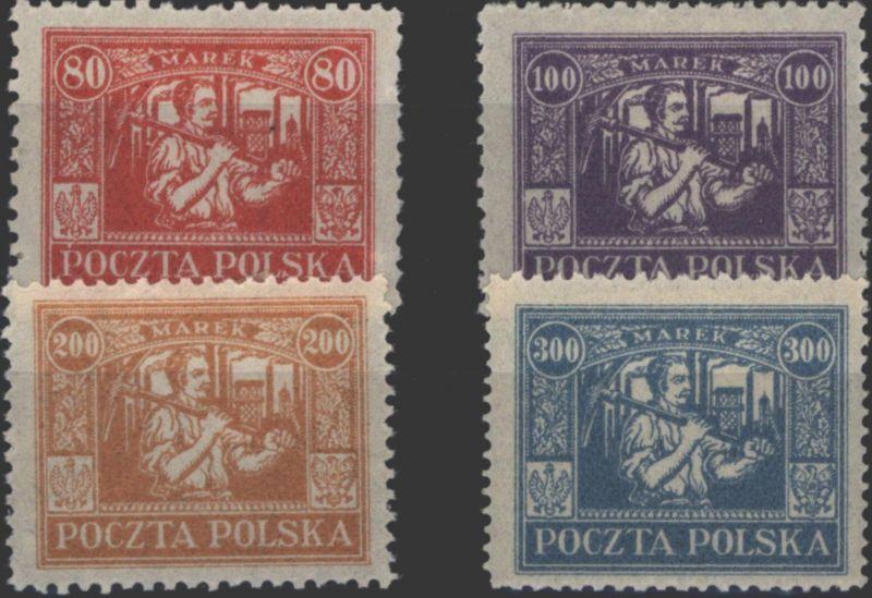 Ostoberschlesien 17-20 Reguläre Ausgaben Polen 80 - 300 Marek 1922 ungebraucht *