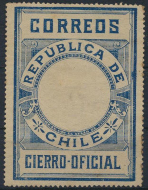 Chile 1900 - Cierro Oficial Stamp, dunkelblau ungebraucht leicht fleckig