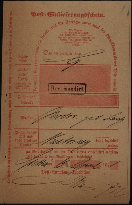 Altdeutschland Preussen Post - Einlieferungsschein Stettin 187..