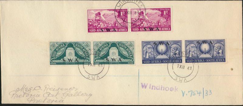 Namibia Südwestafrika Brief MIF 266-268 Paare FDC Windhoek nach Pretoria