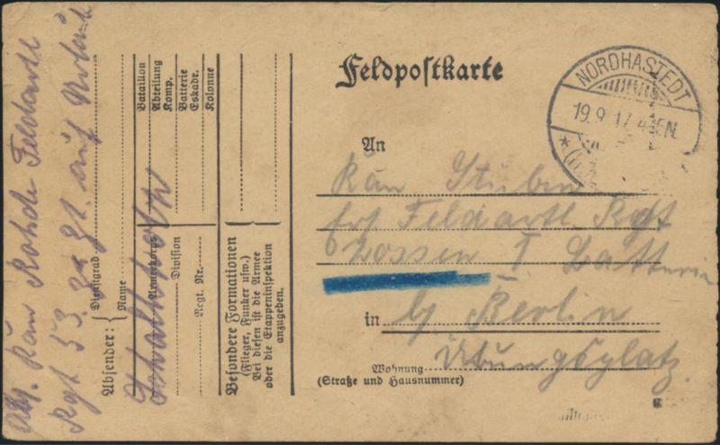 Vordruck Feldpostkarte K2 Nordhastedt Schelswig Holstein n. Berlin  I. Weltkrieg