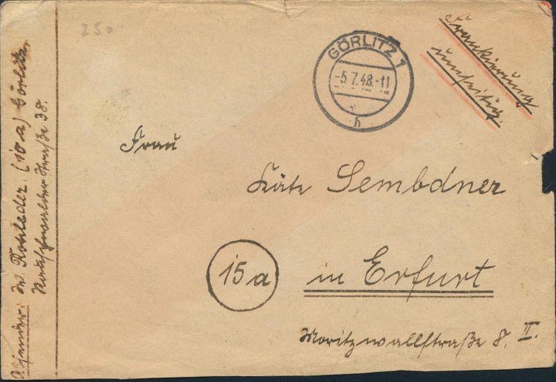 Besetzung Zehnfachfrankatur Brief MIF943+945+946+947+950+951 Görlitz nach Erfurt