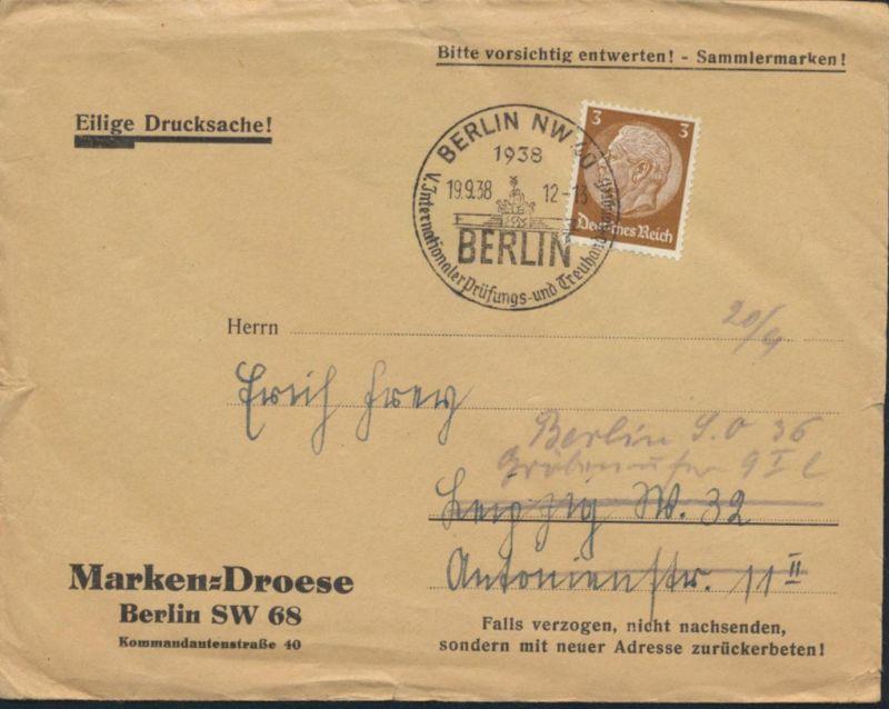Deutsches Reich Brief 513X SST Quadriga Berlin Prüfungs-Treuhand Brandenburger