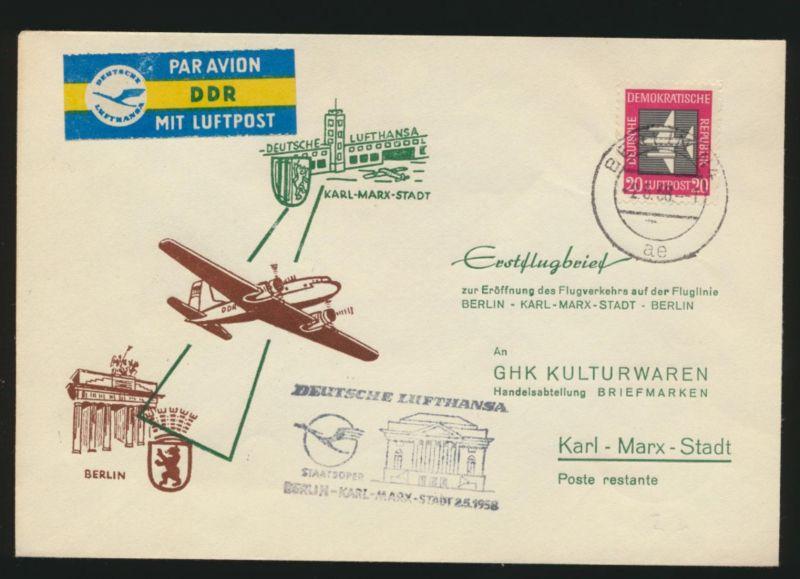 DDR Flugpost Brief Motiv Brandenburger Lufthansa Staatsoper Karl Marx Stadt
