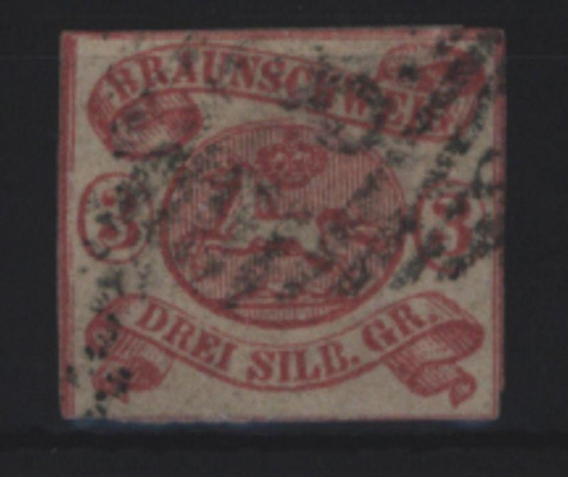 Braunschweig 12 A Wappen im Oval 3 Sgr 1861 gestempelt