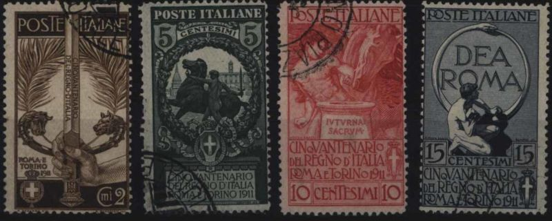 Italien 100-103 Jubiläum geeintes Königreich 1911 komplett sauber gestempelt