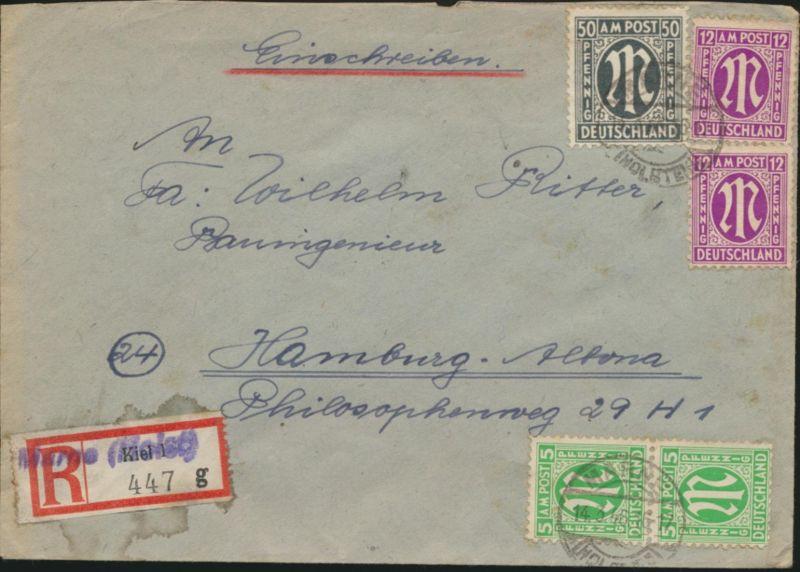 Bizone AM-Post R-Brief Kiel Behelfs-R-Zettel Marne MIF 32a AZ+12+15 b n. Hamburg