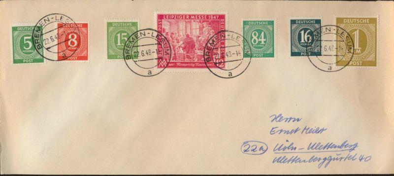 Besetzung Brief Zehnfachfrankatur MIF 915+917+922b+923+936+937+965 Bremen Lesum