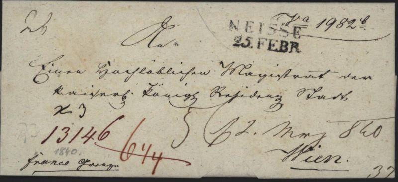 Preussen Vorphila Auslandsbrief L2 Neisse Nysa Schlesien 1840 n Wien Östereich