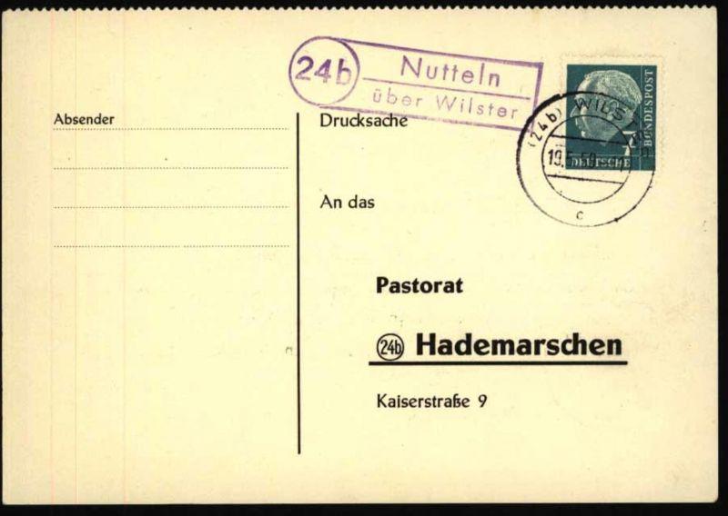 Bund Postkarte mit Landpoststempel Nutteln über Wilster n. Hardemarschen