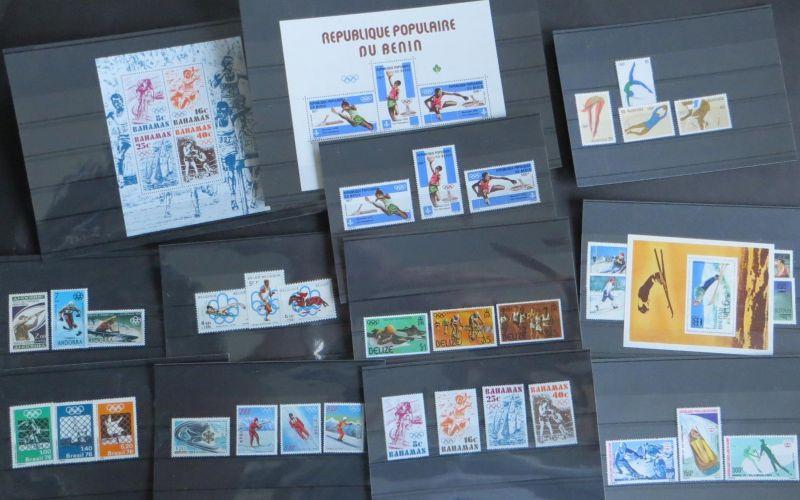 Briefmarken Sport Olympia exotische Länder Übersee Andorra, Belgien, Belize,
