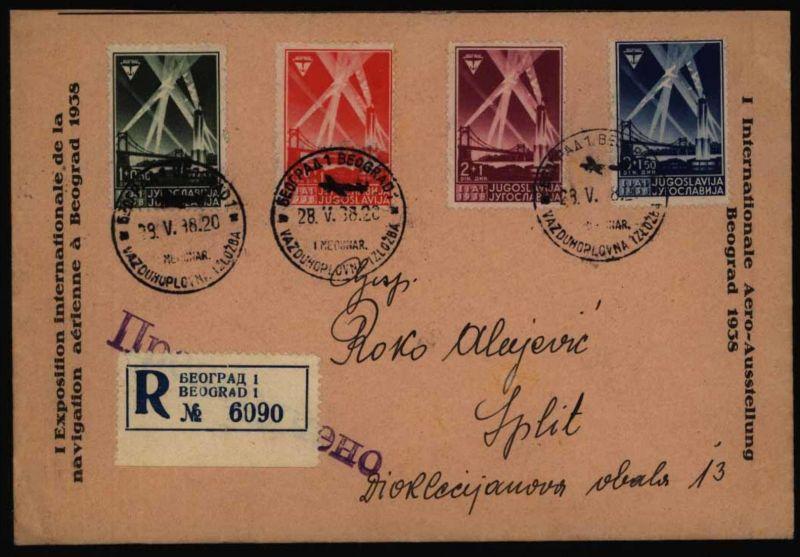Jugoslawien R-Brief 354-7 Flugausstellung FDC Belgrad Beograd n. Split Kroatien