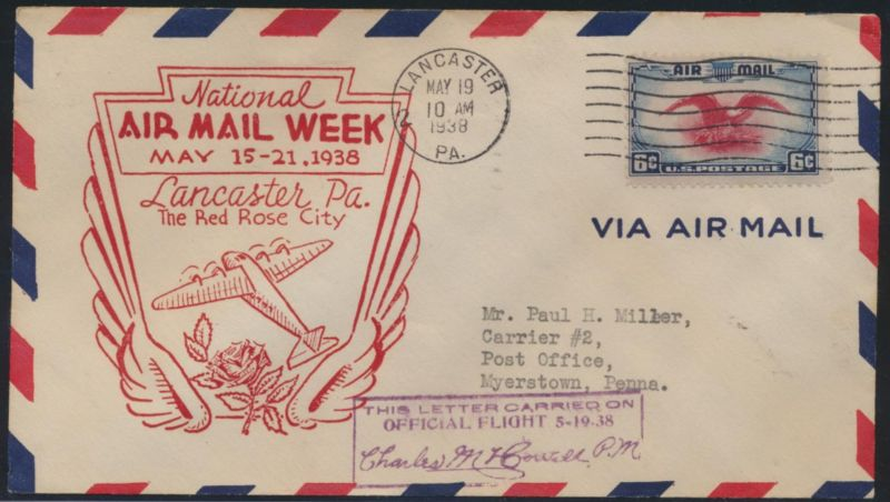Flugpost USA air-mail letter to Myerstown Pennsylvania