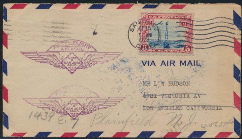 Flugpost USA Erstflug air-mail letter San Jose California Los Angeles