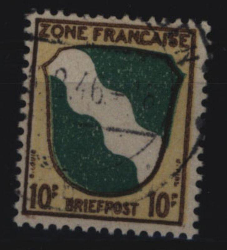 Französische Zone 5 Wappen Rheinland 10 Pf gestempelt 1945