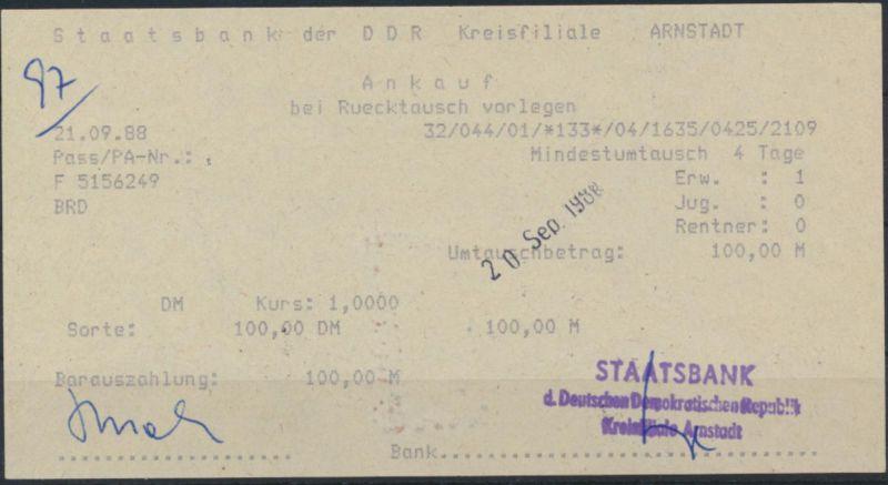 Beleg Quittung Staatsbank der DDR Arnstadt Umtausch 100 Mark 20.09.1988