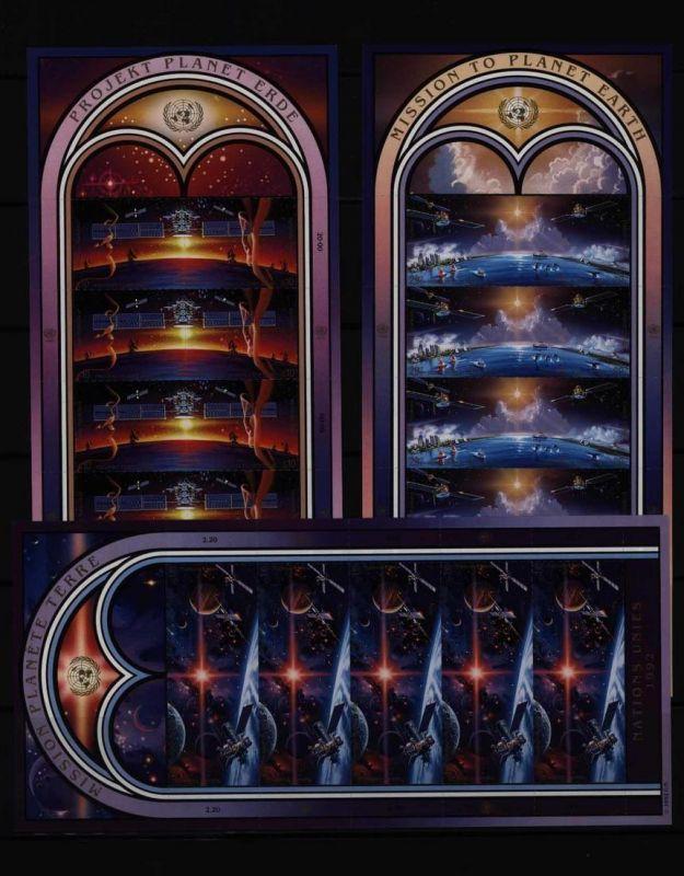 UNO Kleinbogensatz Weltraumjahr 1992 alle drei Gebiete komplett postfrisch **