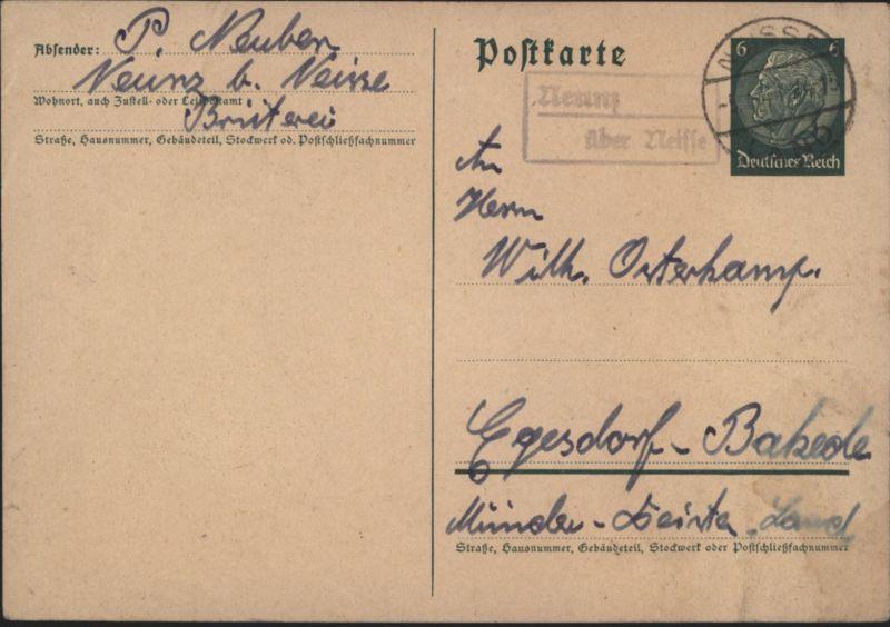 Deutsches Reich Ganzsache Landpoststempel Nemitz üb. Neisse Nysa Schlesien Polen