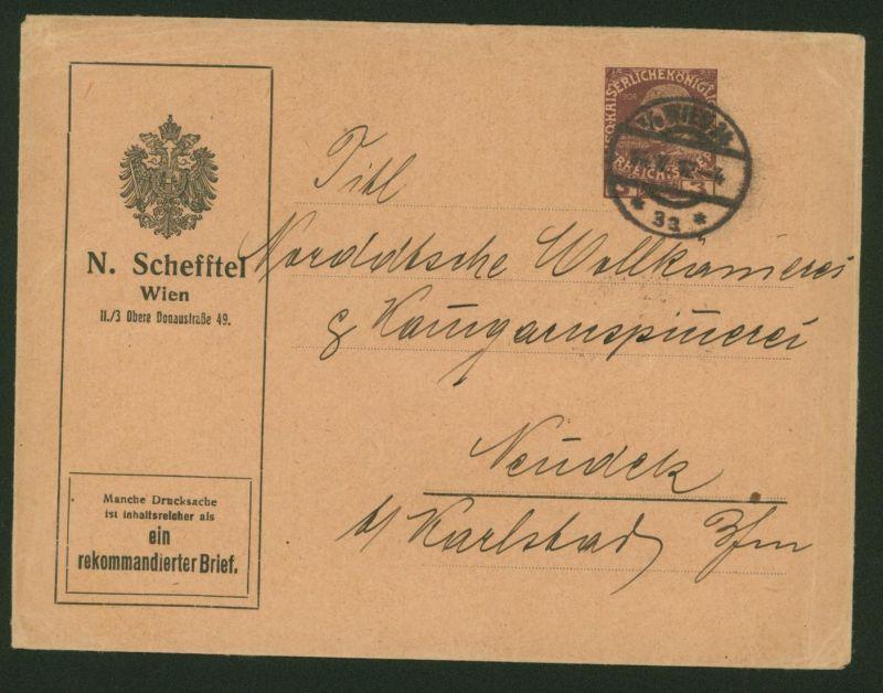 Österreich Privatganzsache Drucksache Einschreiben mit WST 3H Schefftel Wien