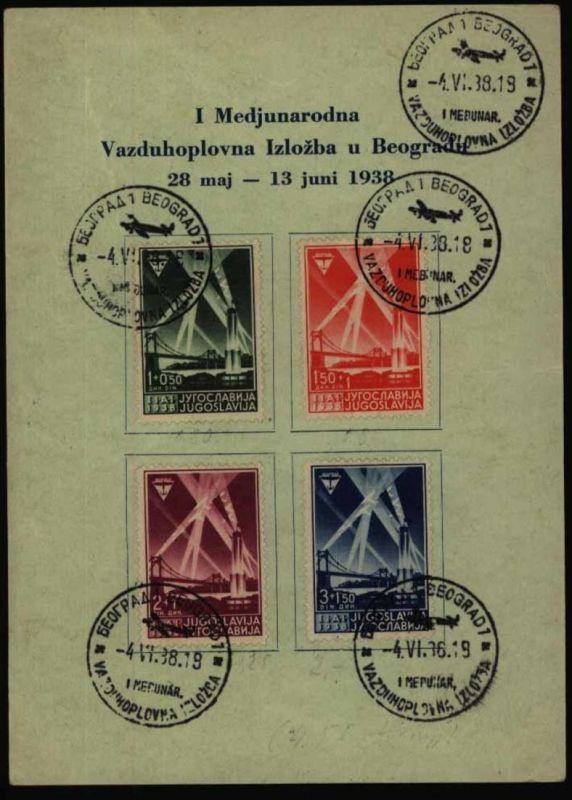 Jugoslawien 354-7 Flugausstellung Belgrad dekor. Sonderkarte f. d. Motvsammlung