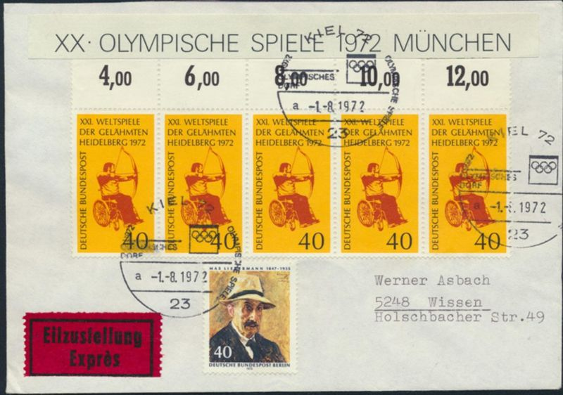 Bund Brief Eilbrief MIF 733 Oberrand+ Berlin 434 SST Kiel 72 32 a Olympia Wissen