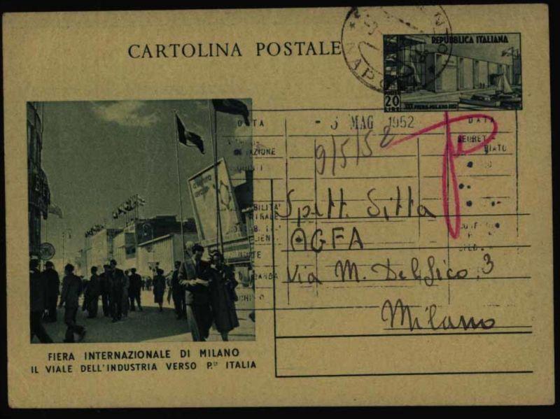 Italien Bild - Ganzsache P 152 Mailänder Messe von Neapel nach Mailand