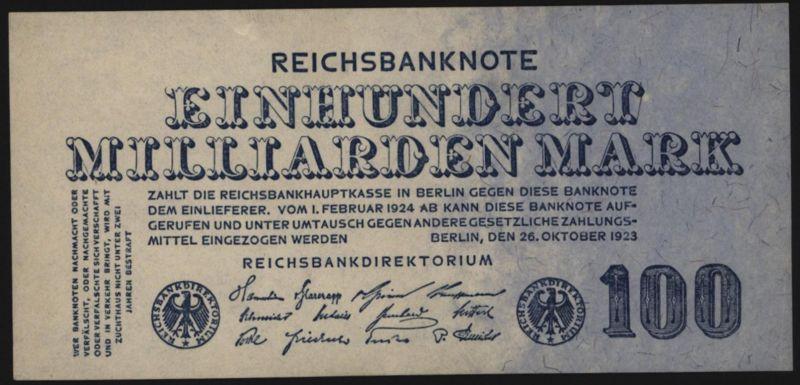 Deutsches Reich Geldschein Reichsbanknote Infla 123 26.10.1923 - I.