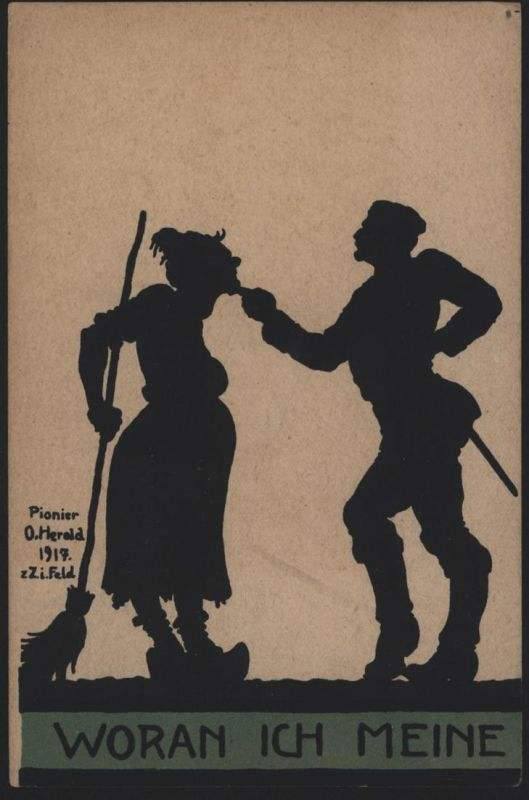 Ansichtskarte Feldpost Pionier O. Herold 1917 I. WK Künstler Scherenschnitt