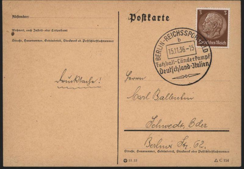 Fußball Deutsches Reich Postkarte SST Berlin Reichssportfeld Deutschland Italien