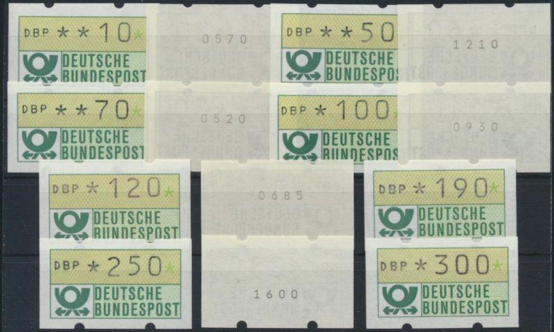 Bund ATM - Nr. 1.1 hu VS 3/VS 4 mit Zählnummer**  Emblem Bundespost