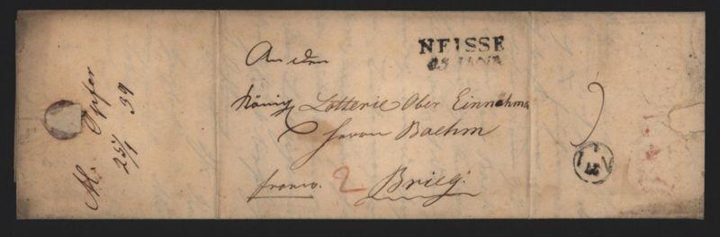 Preussen Vorphila Brief L2 Neisse Nysa Schlesien n. Brieg 1839 kompl. mit Inhalt