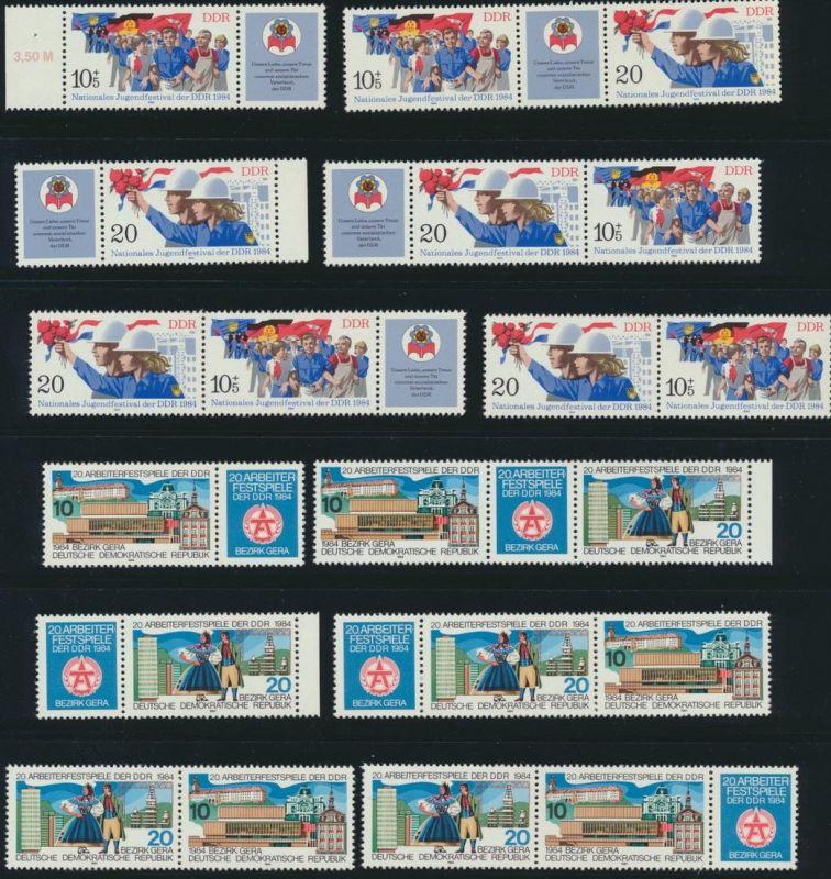 DDR Zusammendrucke aus 1984 ex 2864-2904 postfrisch