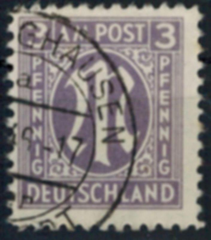 Bizone 17 AM-Post deutscher Druck 3 Pfg gestempelt Plattenfehler XXIV
