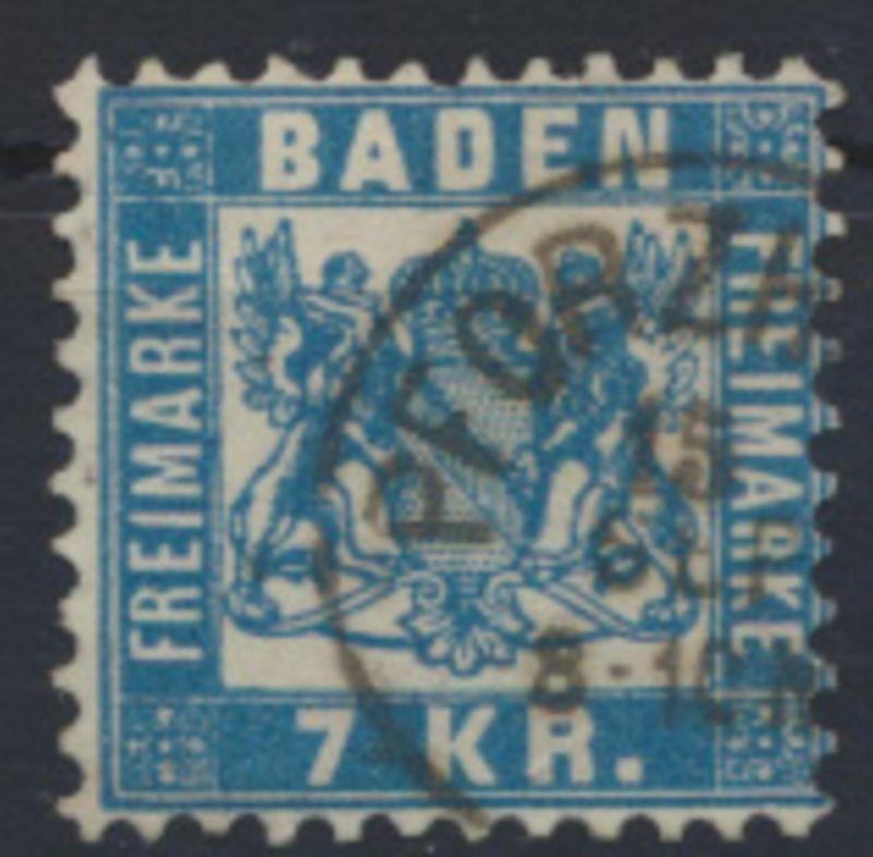 Altdeutschland Baden 25 a sauber gestempelt Kat.-Wert 40,00