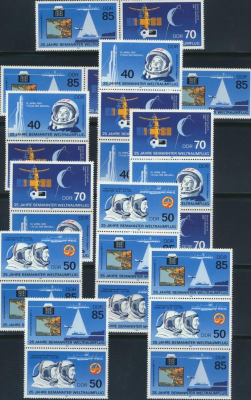 DDR Zusammendrucke 3005-3008 W ZD 668- S ZD 321** Raumflug 1986 komplett