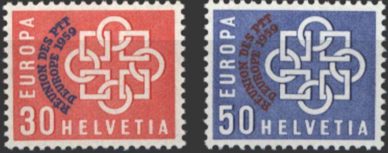 Schweiz 681-682 europ. Konferenz PTT-Verwaltungen 1959 tadellos postfrisch **
