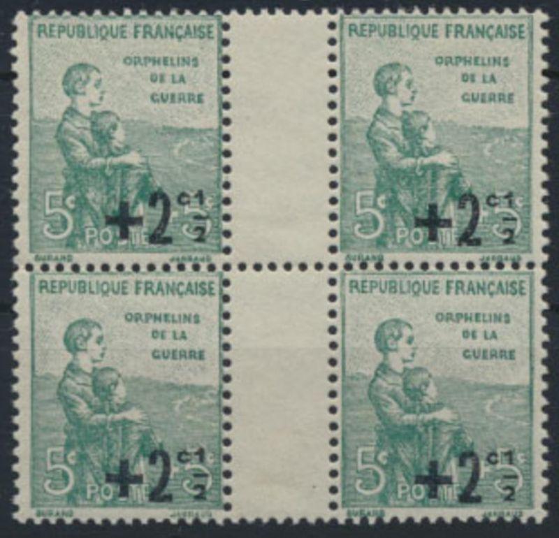 Frankreich 5+2 1/2 MiNr 145 ** Viererblock Kriegswaisen 1922