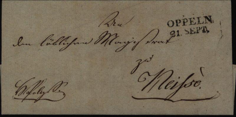 Preussen schöner Vorphila Siegel-Brief mit L2 (ab 1817) Oppeln Neisse Schlesien