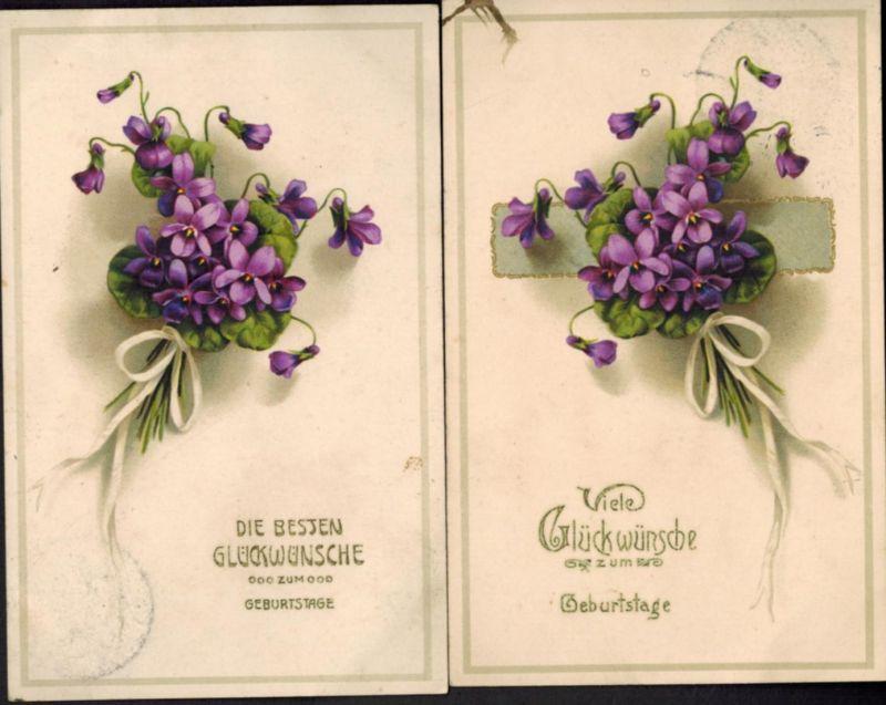 Ansichtskarte Glückwunsch Geburtstag 2 Karten Vergissmeinnicht erhabener Druck