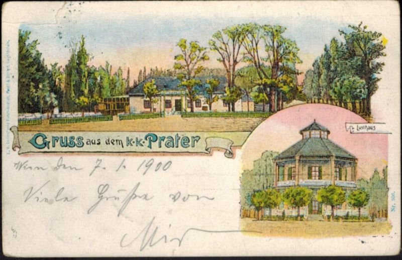 Ansichtskarte Österreich Wien Litho Gruß vom Prater gelaufen schöne MIF 3.1.1900