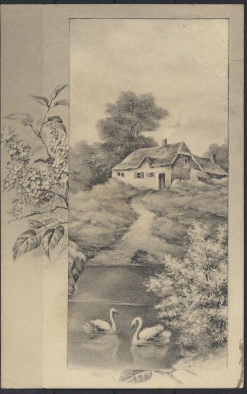 Ansichtskarte Motiv Jugendstil Art Nouveau Tiere Schwäne Eschweiler n M Gladbach